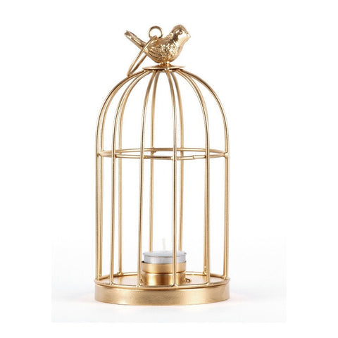 Gold Bird Cage T-Light Holder