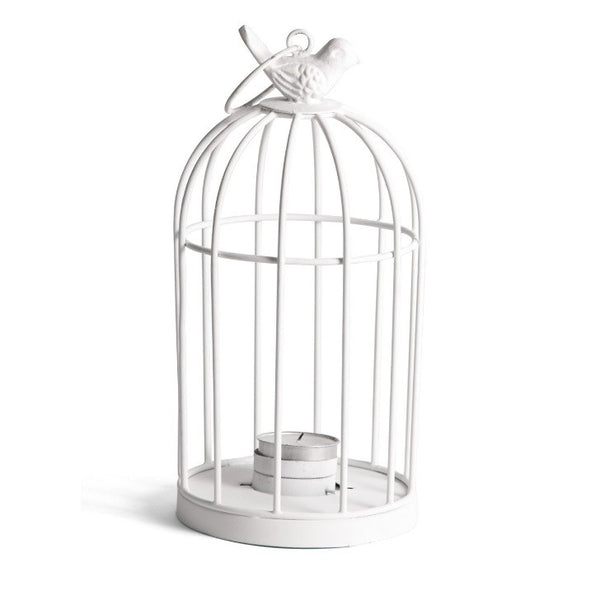 White Bird Cage T-Light Holder