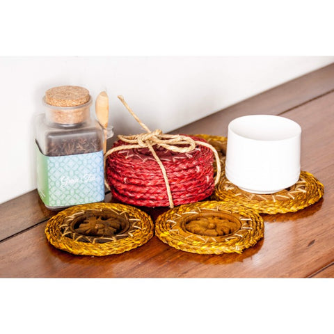 Carved wood & Sabai grass coasters