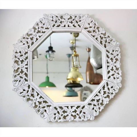 Octagonal Carved Mirror