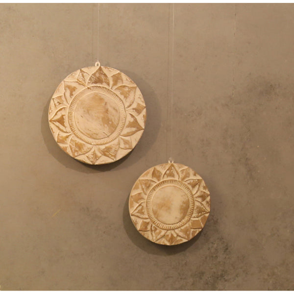 Wooden Carved Round Panels(Set of 2)
