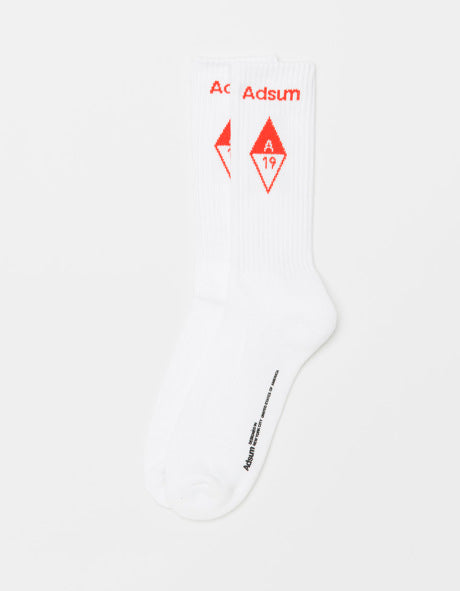 Adsum - Diamond Logo Sock - White