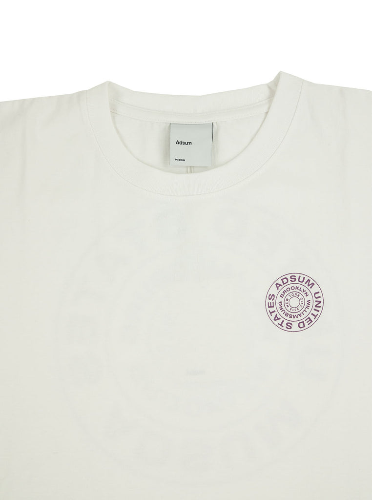 Adsum Stamp T-shirt White The Northern Fells Clothing Company Neck