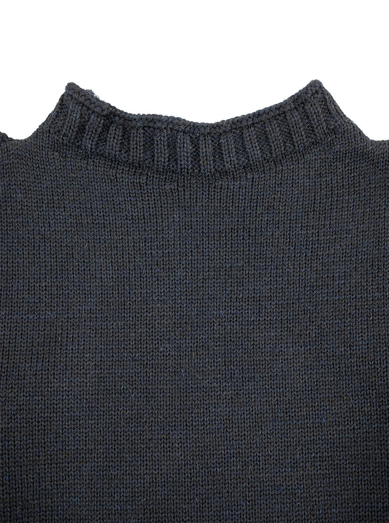 Channel Jumper Burhou Traditional Guernsey Dark Navy The Northern Fells Clothing Company Neck