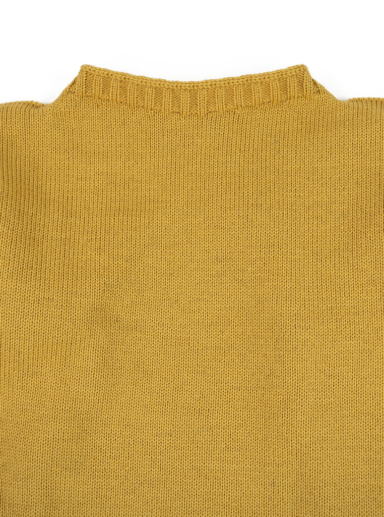 Channel Jumper Burhou Traditional Guernsey Sunflower The Northern Fells Clothing Company Neck
