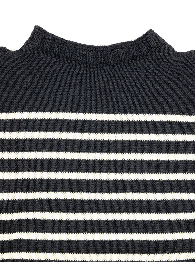 Channel Jumper Puffin Traditional Guernsey Dark Navy Aran The Northern Fells Clothing Company Neck
