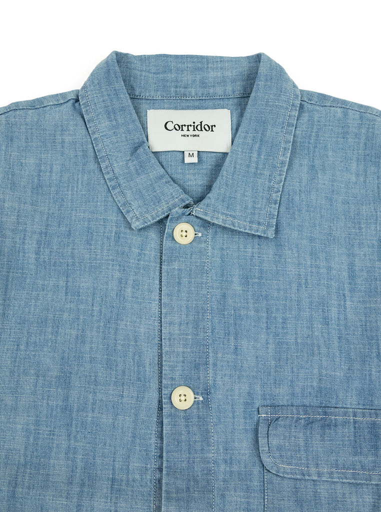 Corridor Chambray Service Shirt The Northern Fells Clothing Company Neck
