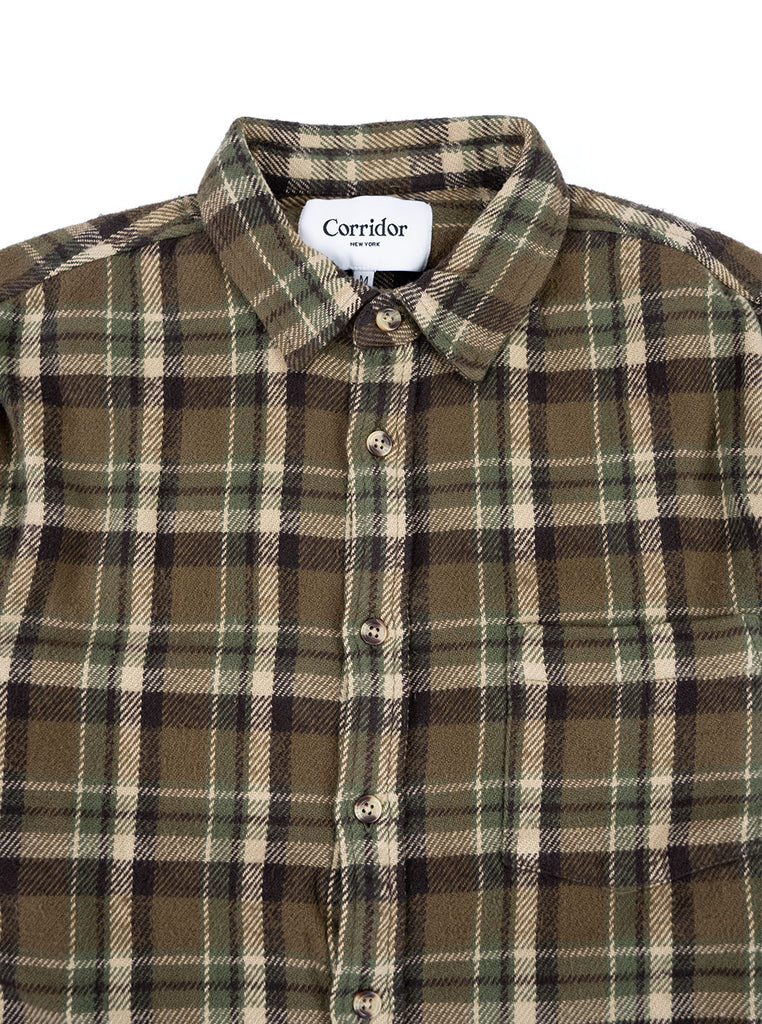 Corridor Fuzzy Flannel Olive The Northern Fells Clothing Company Neck
