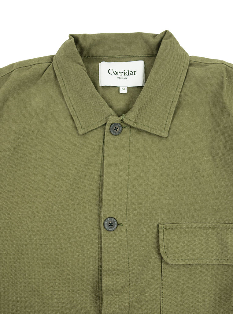 Corridor Olive Dobby Service Shirt The Northern Fells Clothing Company Neck