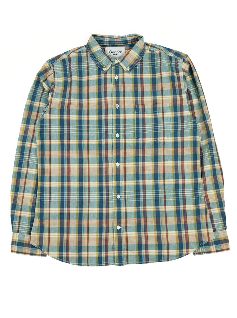Corridor Teal Madras Shirt The Northern Fells Clothing Company Full