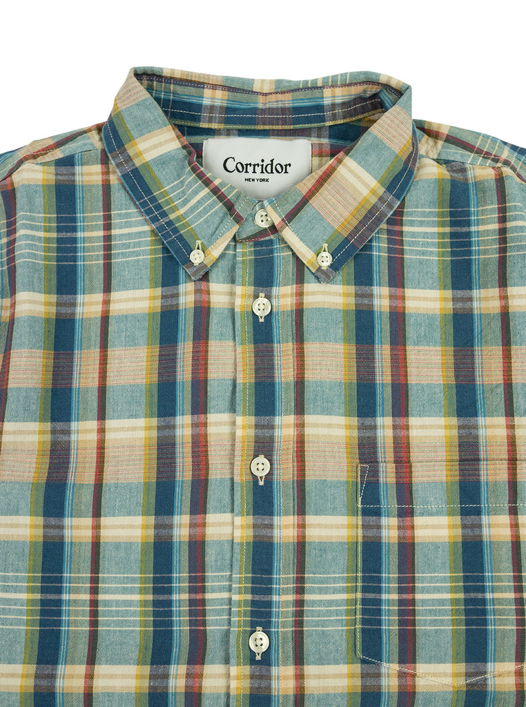 Corridor Teal Madras Shirt The Northern Fells Clothing Company Neck