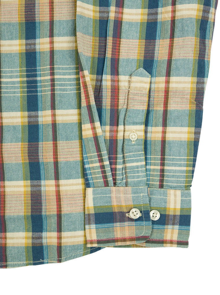 Corridor Teal Madras Shirt The Northern Fells Clothing Company Sleeve