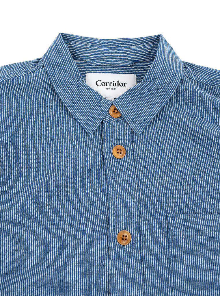Corridor Ticking Stripe Linen Overshirt The Northern Fells Clothing Company Neck