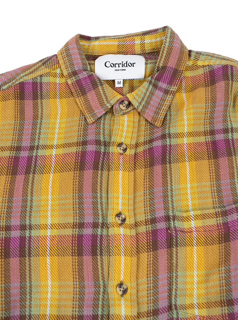 Corridor Vibrant Flannel Pink The Northern Fells Clothing Company Neck
