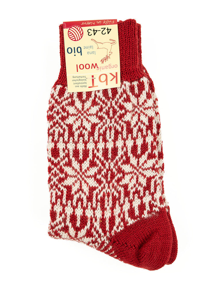 HIRSCH NATUR Nordic Sock Red White The Northern Fells Clothing Company Folded