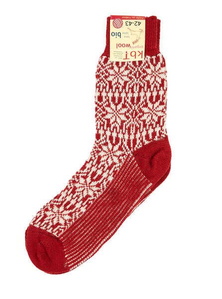 HIRSCH NATUR Nordic Sock Red White The Northern Fells Clothing Company Full