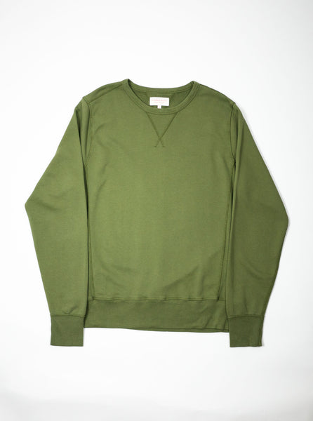 Hawksmill Denim Co HKJE-09 Garment Dyed Sweatshirt Olive