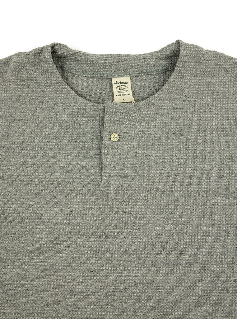 Jackman JM5059 Waffle Henley Heather Grey The Northern Fells Clothing Company Neck