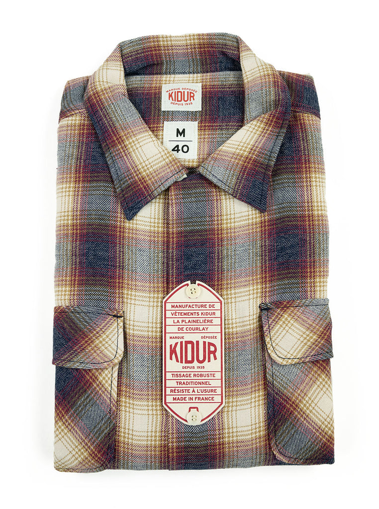 Kidur Camp High Shirt Flannel Ombre Check Garnet Made in France Workwear The Northern Fells Clothing Company Folded