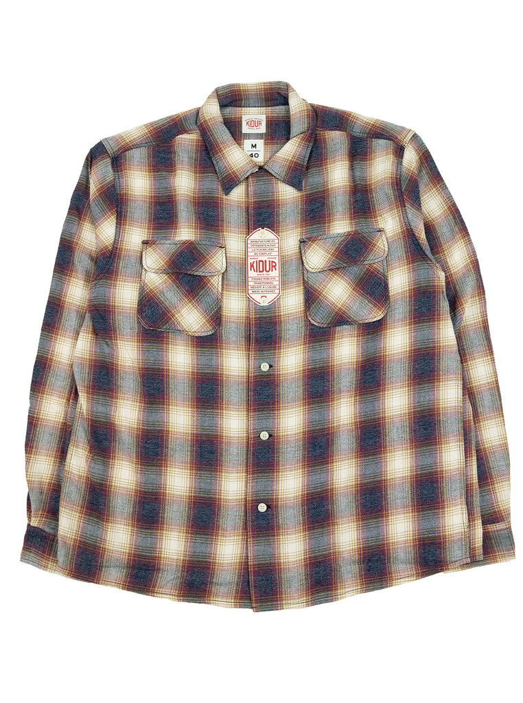 Kidur Camp High Shirt Flannel Ombre Check Garnet Made in France Workwear The Northern Fells Clothing Company Full