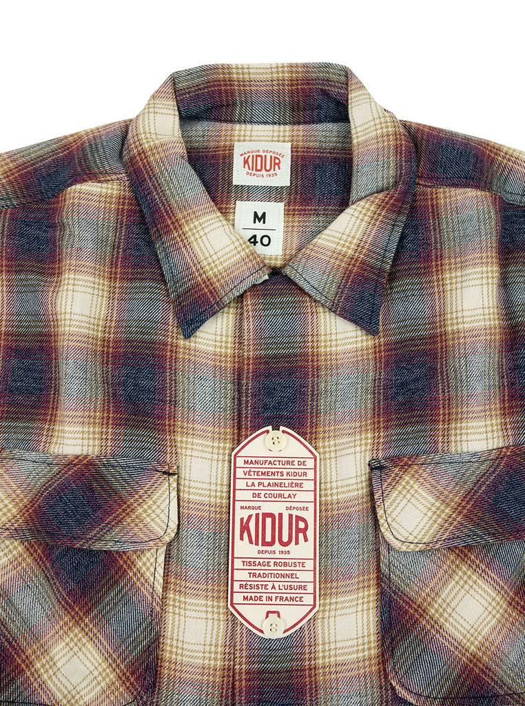 Kidur Camp High Shirt Flannel Ombre Check Garnet Made in France Workwear The Northern Fells Clothing Company Neck