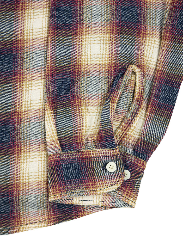 Kidur Camp High Shirt Flannel Ombre Check Garnet Made in France Workwear The Northern Fells Clothing Company Sleeve