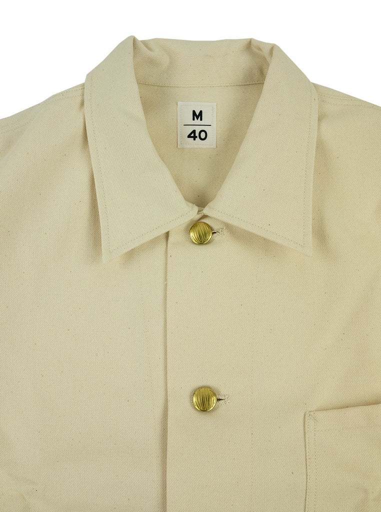 Kidur Veste41 Ecru Cotton Twill Made in France Workwear The Northern Fells Clothing Company Neck