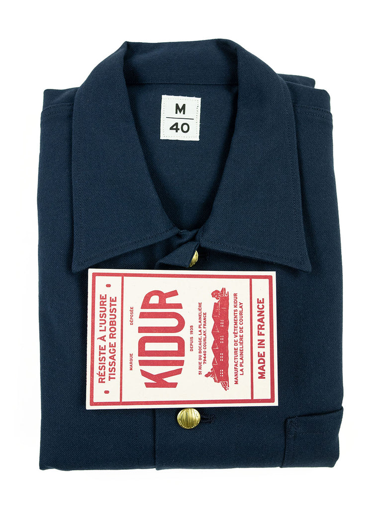 Kidur Veste41 Navy Cotton Twill Made in France Workwear The Northern Fells Clothing Company Folded