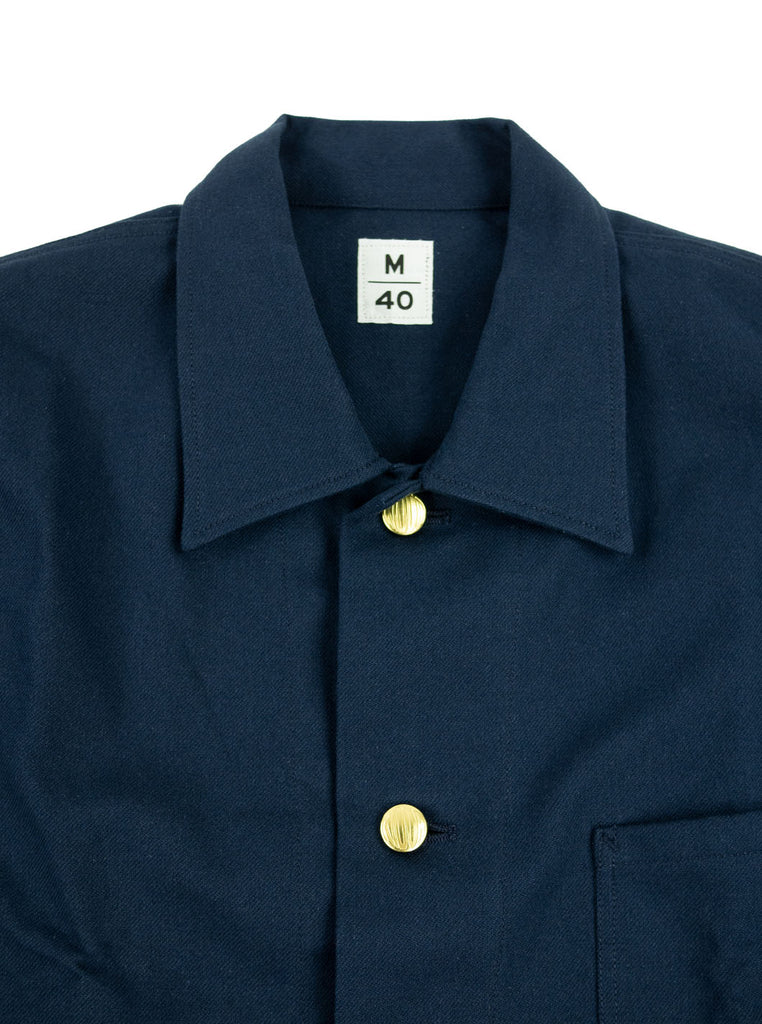 Kidur Veste41 Navy Cotton Twill Made in France Workwear The Northern Fells Clothing Company Neck