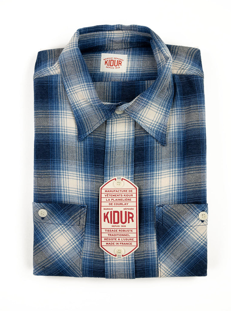 Kidur Workshirt Flannel Ombre Check Blue Made in France Workwear The Northern Fells Clothing Company Folded