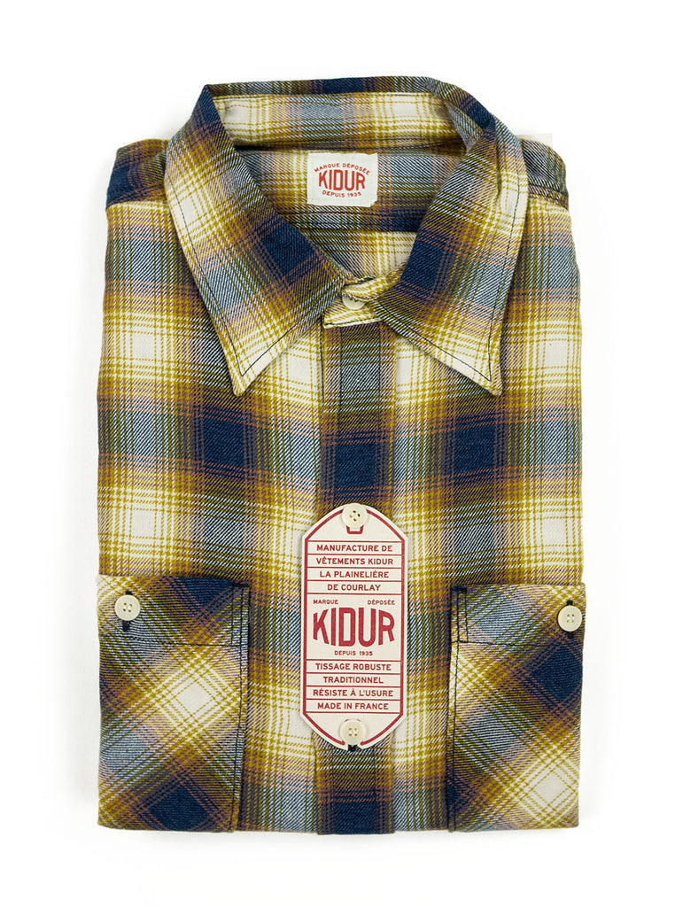 Kidur Workshirt Flannel Ombre Check Mustard Made in France Workwear The Northern Fells Clothing Company Folded