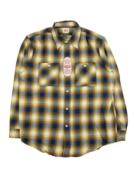 Kidur Workshirt Flannel Ombre Check Mustard Made in France Workwear The Northern Fells Clothing Company Full