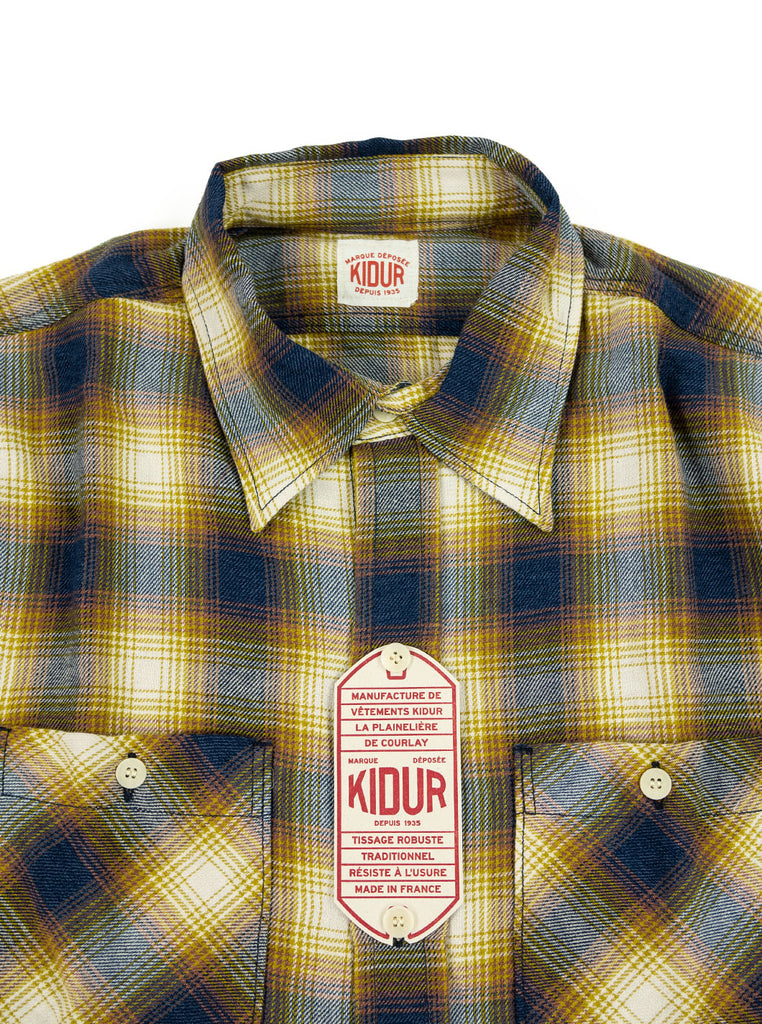 Kidur Workshirt Flannel Ombre Check Mustard Made in France Workwear The Northern Fells Clothing Company Neck