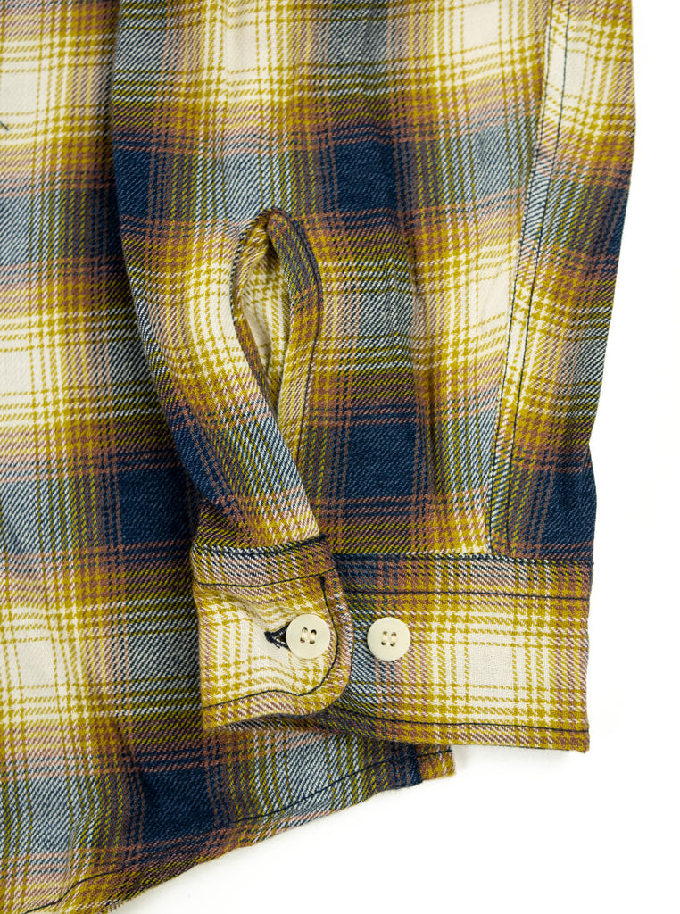 Kidur Workshirt Flannel Ombre Check Mustard Made in France Workwear The Northern Fells Clothing Company Sleeve