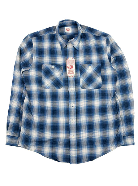 Kidur Workshirt Ombre Check Blue Made in France Workwear The Northern Fells Clothing Company Full