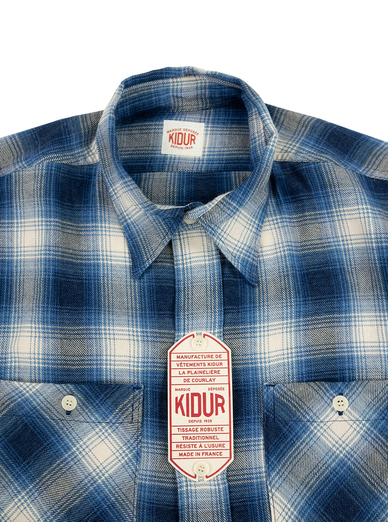 Kidur Workshirt Ombre Check Blue Made in France Workwear The Northern Fells Clothing Company Neck