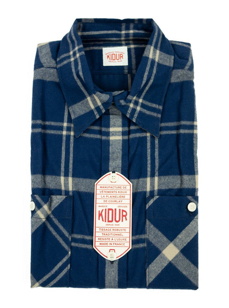 Kidur Workshirt Shirt Flannel Shaggy Big Check Navy Made in France Workwear The Northern Fells Clothing Company Folded