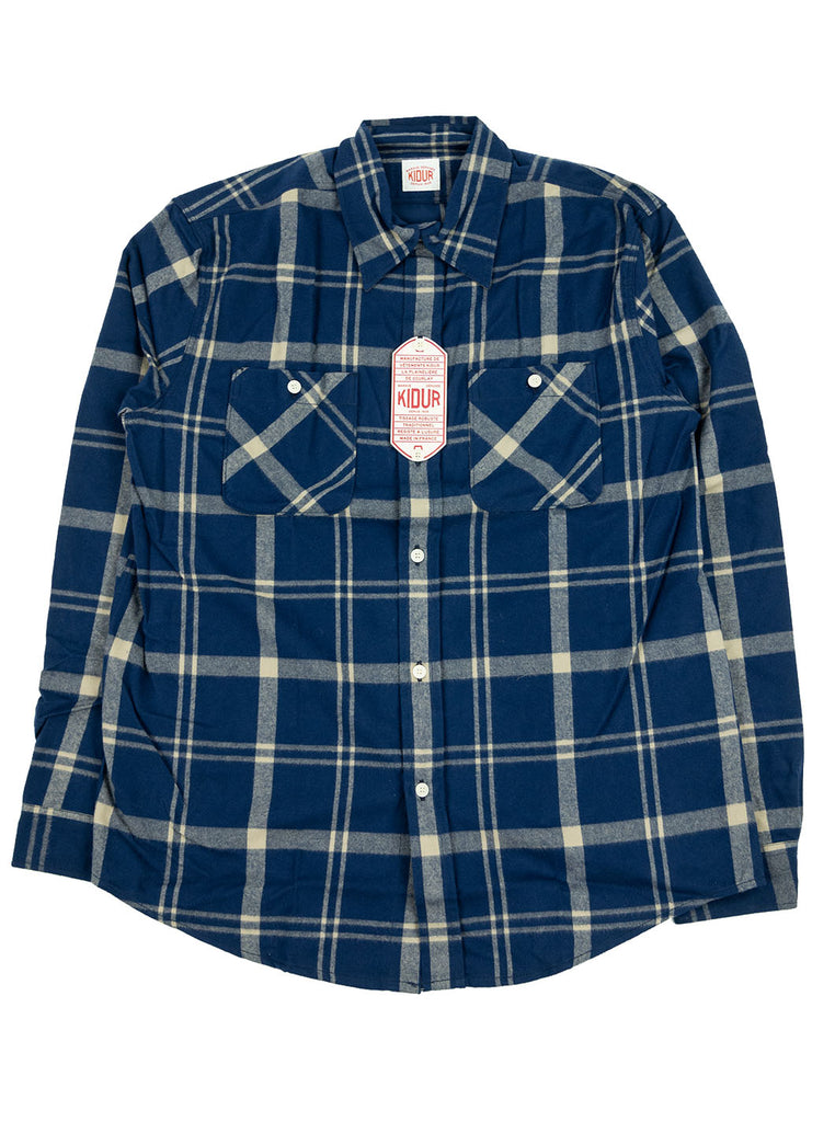 Kidur Workshirt Shirt Flannel Shaggy Big Check Navy Made in France Workwear The Northern Fells Clothing Company Full
