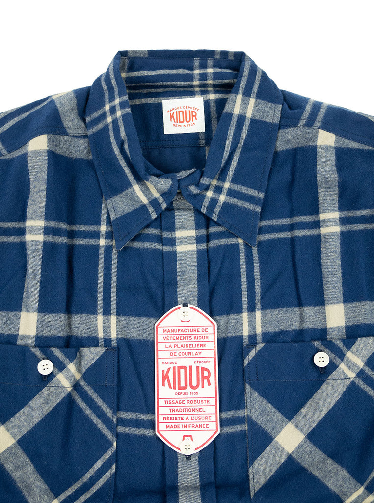 Kidur Workshirt Shirt Flannel Shaggy Big Check Navy Made in France Workwear The Northern Fells Clothing Company Neck