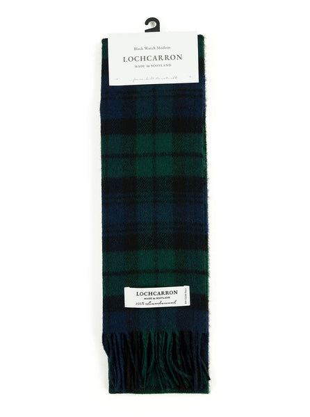 Lochcarron of Scotland - Black Watch Tartan Lambswool Scarf - Black, Green and Navy