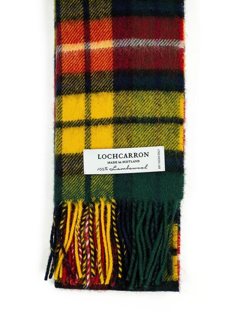 Lochcarron Lambswool Tartan Scarf Made in Scotland Buchanan Modern The Northern Fells Clothing Company Detail