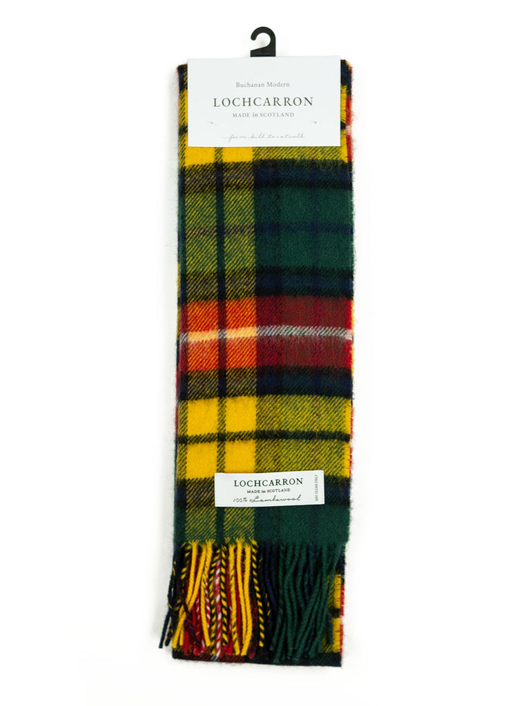 Lochcarron Lambswool Tartan Scarf Made in Scotland Buchanan Modern The Northern Fells Clothing Company Full