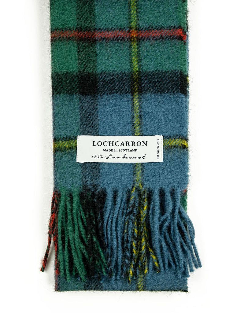 Lochcarron Lambswool Tartan Scarf Made in Scotland MacLeod Harris Ancient The Northern Fells Clothing Company Detail