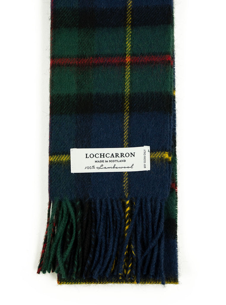 Lochcarron Lambswool Tartan Scarf Made in Scotland MacLeod Harris Modern The Northern Fells Clothing Company Detail