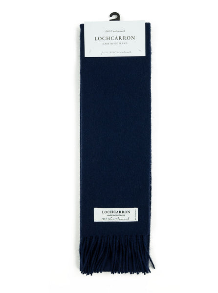 Lochcarron Lambswool Tartan Scarf Made in Scotland Navy The Northern Fells Clothing Company Full