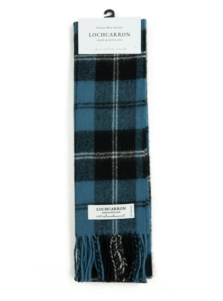 Lochcarron Lambswool Tartan Scarf Made in Scotland Ramsay Blue The Northern Fells Clothing Company Full