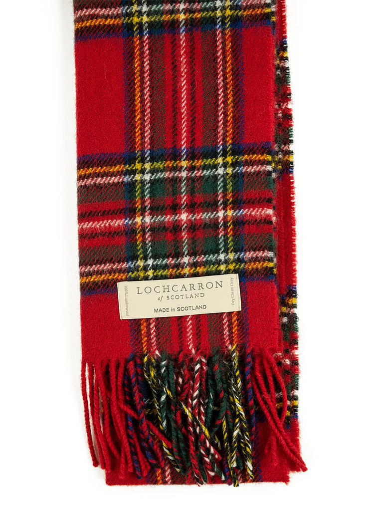 Lochcarron Lambswool Tartan Scarf Made in Scotland Stewart Royal Modern The Northern Fells Clothing Company Detail