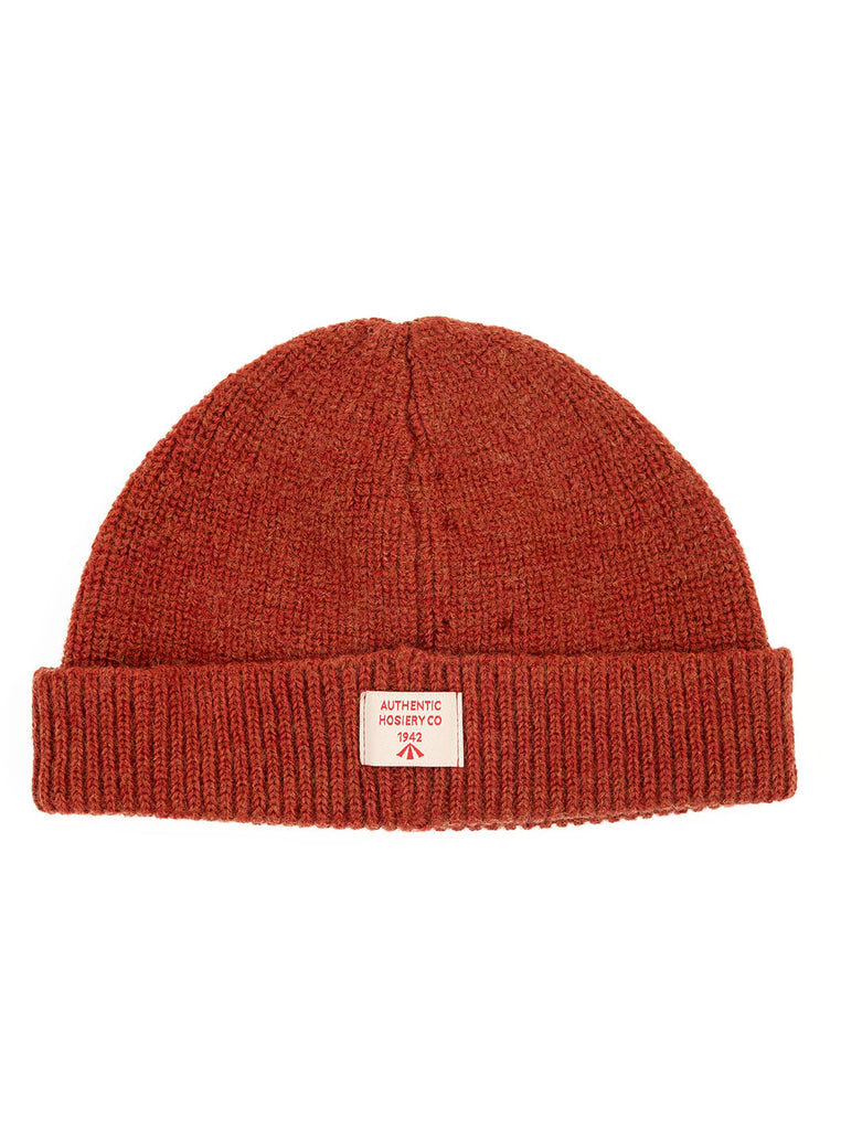 Nigel Cabourn ACC4 Authentic Wool Broad Arrow Beanie Burnt Orange The Northern Fells Clothing Company Back