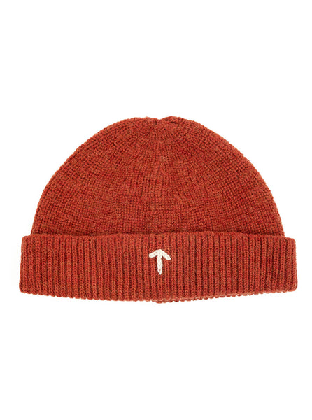 Nigel Cabourn ACC4 Authentic Wool Broad Arrow Beanie Burnt Orange The Northern Fells Clothing Company Front