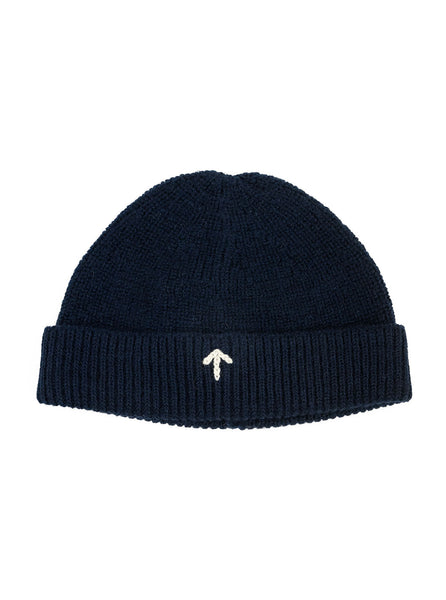 Nigel Cabourn ACC4 Authentic Wool Broad Arrow Beanie Navy/Black The Northern Fells Clothing Company Front